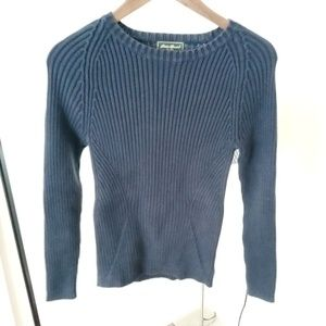 Women's cable knit sweater size small blue